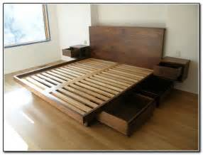 Built In Bed Frame Design King Size Platform Bed With Drawers Planshome Furniture