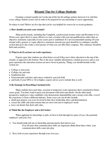 tips for writing a resume for college students college student resume exle sle http www