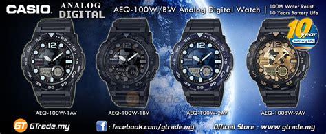 Casio Aeq 100w 1a Original Pria casio standard aeq 100bw 9av analog digital world