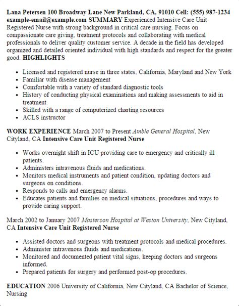 Intensive Care Sle Resume by Professional Intensive Care Unit Registered Templates To Showcase Your Talent