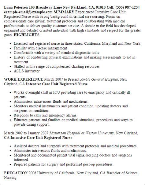 registered icu resume exles 28 images professional icu