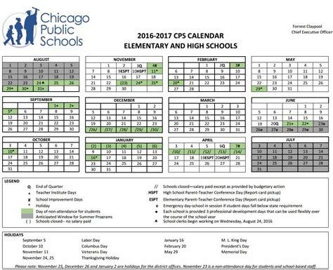 Cps School Calendar Chicago Schools Calendar Free Calendar 2017 2018