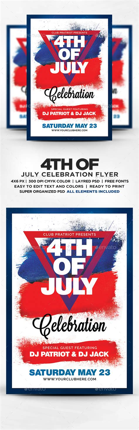 4th of july celebration flyer template psd by designblend