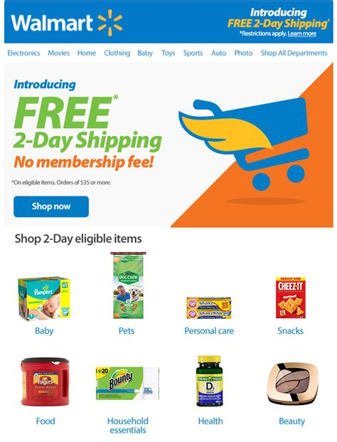 s day walmart walmart launches free two day shipping on more than two