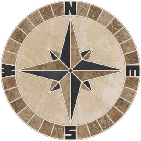 24 quot tile mosaic medallion mariners compass travertine