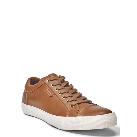 polo ralph geffrey leather sneaker in brown for