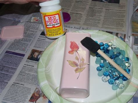Decoupage Plastic Container - plastic container repupose and upcycle eye glass holder