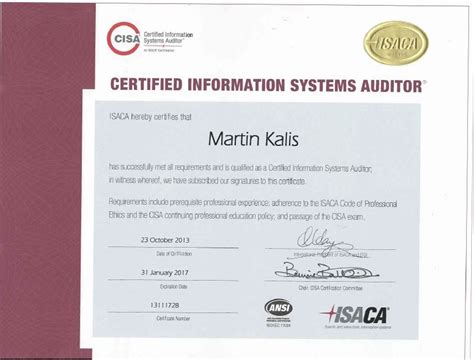 certified information systems auditor cisa cert guide certification guide books portfolio martin kalis