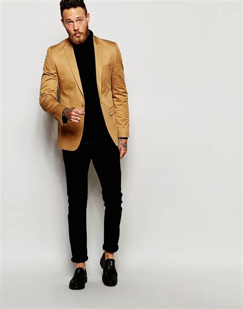 Asos Blazer In Cotton lyst asos blazer in cotton in for