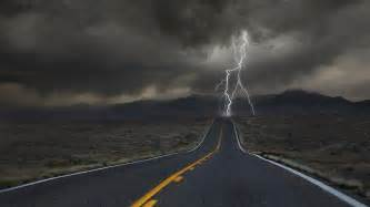 clouds nature desert roads colorado lightning strike