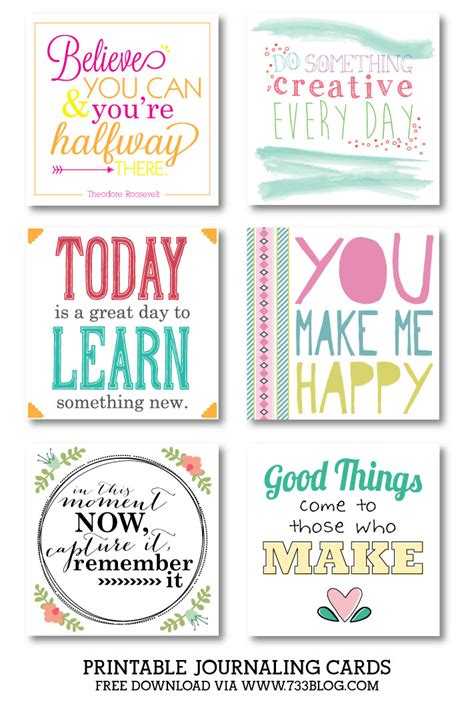 create inspirational cards template printable journaling cards collection 3 inspiration