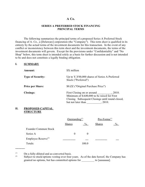 venture capital term sheet template the holy grail of entrepreneurship the term sheet part 1