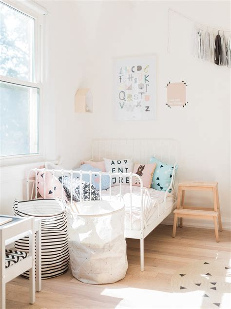 the sweetest girl s nordic room from instagram petit small a modern pastel shared baby and toddler room happy grey