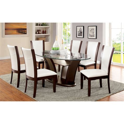 dining room sets with glass table tops furniture of america lavelle 7 tempered glass top