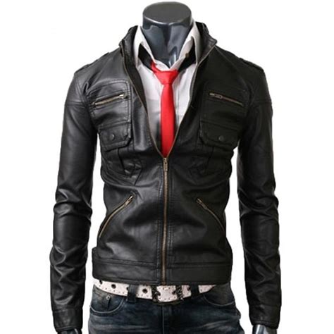 fitted leather black leather zip pocket mens jacket