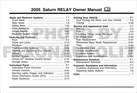 auto repair manual free download 2005 saturn relay interior lighting 2005 saturn relay owner s manual original