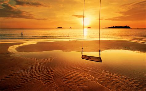 swing on the beach swing on the beach when sunset simply wallpaper just