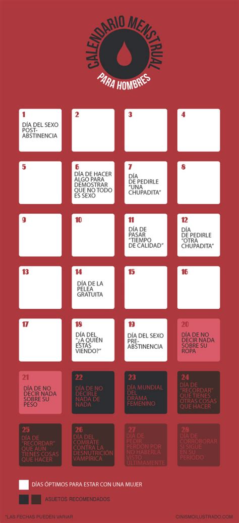 Calendario Menstrual Para Calendario Menstrual Para Hombres