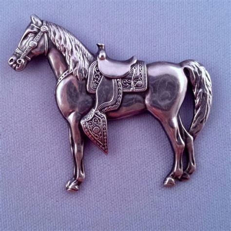 Sterling Direct Background Check Time Vintage Sterling Silver Saddled Brooch Finely Detailed From Retrojewels On
