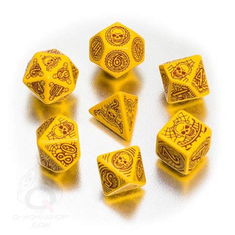 Dadu Polyhedral D12 Motif pathfinder skull shackles dice set gaming fairyglen