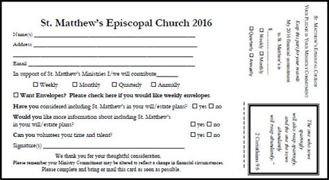 church volunteer info card template pledge card st matthew s episcopal church