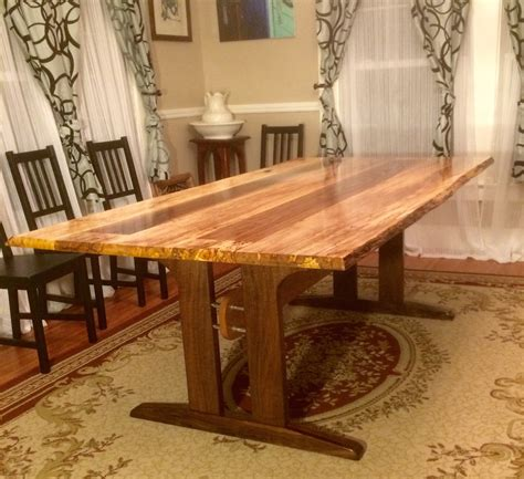 logans  edge spalted maple dining table  wood
