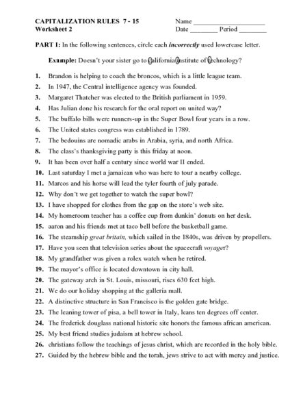 Capitalization Worksheets by Capitalization Practice Worksheets 8th Grade