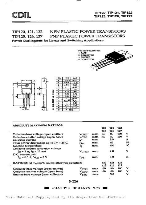 transistor darlington datasheet tip122nbsp 275542 pdf datasheet ic on line