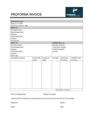 simple proforma invoice templates word proforma invoice template