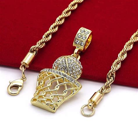 basketball iced out micro pendant hip hop chain gold tone