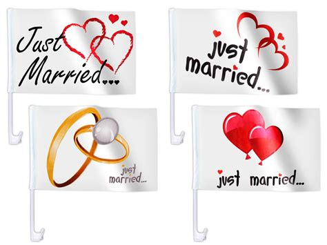 Just Married Fahnen F Rs Auto by 1 Stk Auto Flagge Wei 223 Just Married Auto Fahne Heirat