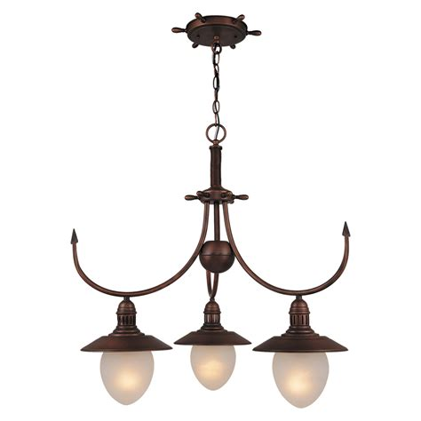 Nautical Chandelier Shop Cascadia Lighting Nautical 3 Light Antique Copper Chandelier At Lowes