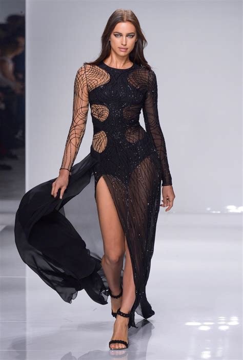 Who Wore Versace Best The Catwalk Model Or Schiffer by Stunning Irina Shayk Rocked The Runway In A Sheer