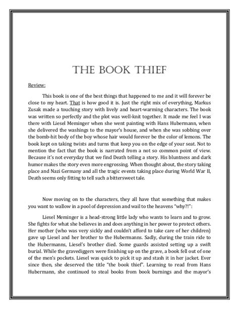 Book Thief Essay by Essay For The Book Thief Docoments Ojazlink