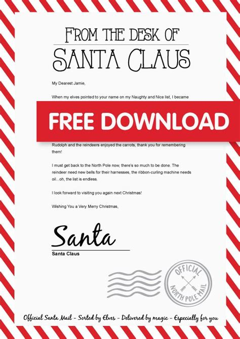 personalised santa letter personalized letters