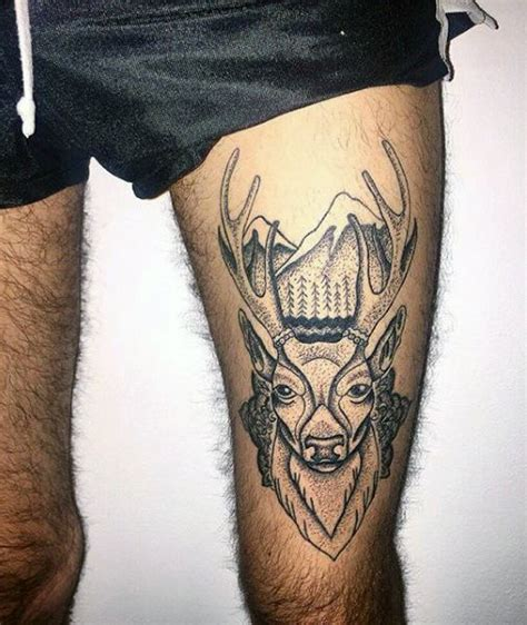 men leg tattoos 90 deer tattoos for manly outdoor designs tattoos