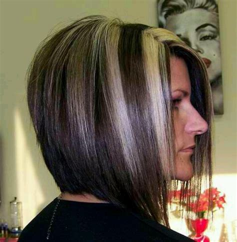 stacked bob haircut long points in front stacked bob haircut w chunky highlights back view haaair