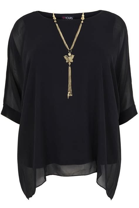 black batwing sleeve chiffon top with necklace plus size