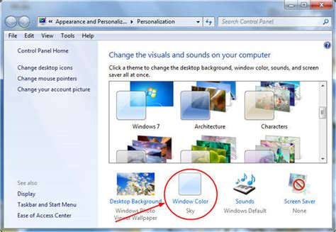 change window and taskbar color in windows 7