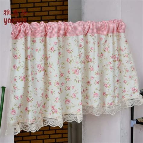 Country Plaid Kitchen Curtains Aliexpress Buy Free Shipping Floral Lace Pink Plaid Country Rustic Semishade Curtain