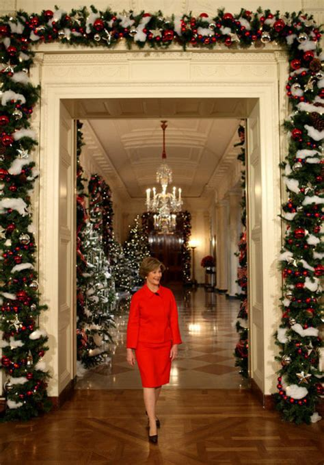 the christmas decorations in the east room of the white press availability by mrs bush at the white house holiday