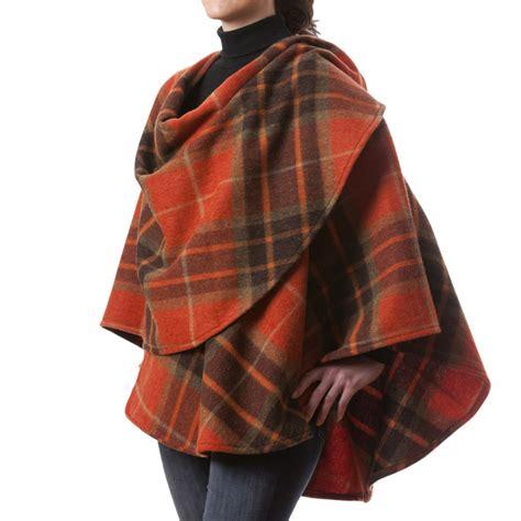 Plaid Woolen Cape Cardigan 15946 wool cape 100 lambswool plaid made ebay