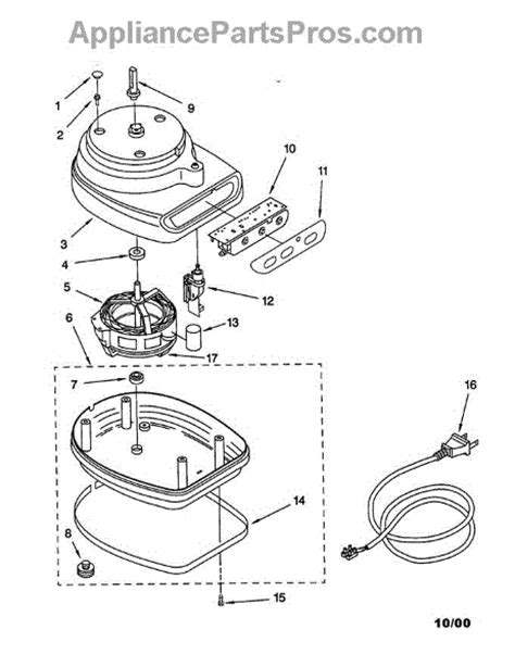 parts for kitchenaid kfp350bu motor and housing parts