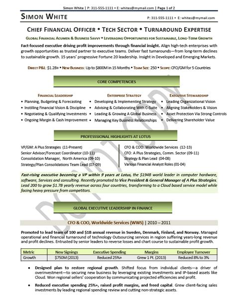 Cfo Resume by Executive Resume Sle Chief Financial Officer