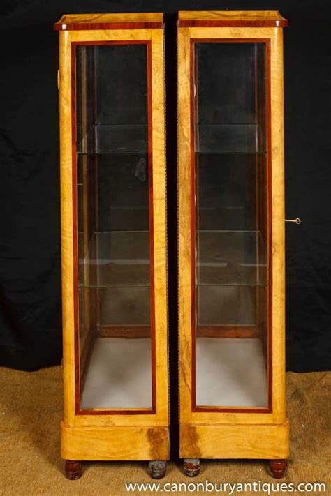 Pair Art Deco Display Cabinets Glass Fronted Bijouterie