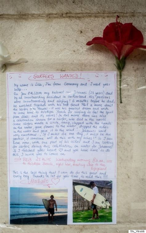 Kaleo Support Letter More Than 100 Surfers Gather To Help Grieving Say Goodbye To Huffpost
