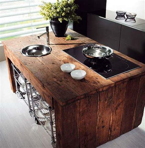 Wooden Kitchen Island 15 Reclaimed Wood Kitchen Island Ideas Rilane