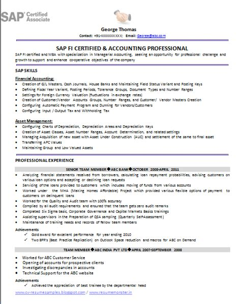 sap fico 2 years experience resumes sap fico sle resume