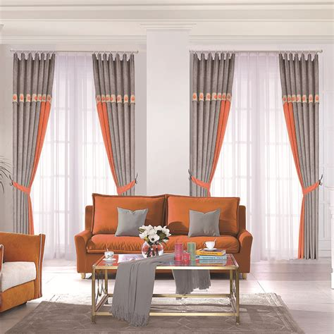 curtains for room orange and gray curtains for living room chic chenille blackout drapes