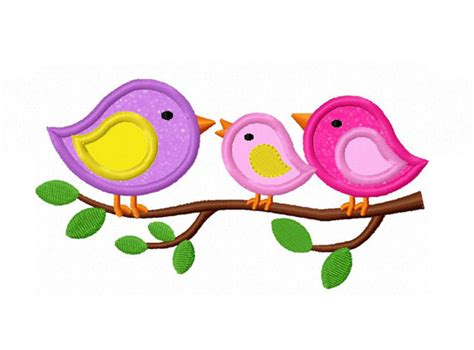Instant Download Three Birds Applique Machine Embroidery 3 Birds Designs